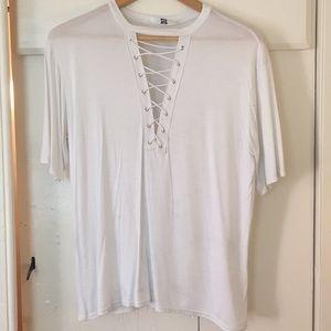 White lace-up t-shirt